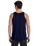 Navy Unisex Jersey Tank as seen from the back