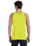 Neon Yellow Unisex Jersey Tank as seen from the back