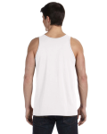 White Unisex Jersey Tank as seen from the back