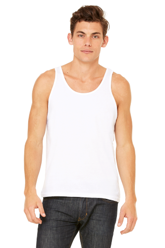 White Unisex Jersey Tank as seen from the front