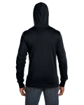 Black Unisex Jersey Long-Sleeve Hoodie as seen from the back