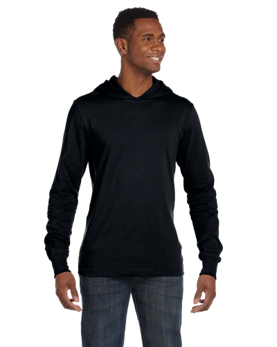 Black Unisex Jersey Long-Sleeve Hoodie as seen from the front