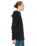 Black Unisex Jersey Long-Sleeve Hoodie as seen from the sleeveleft