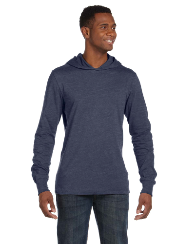 Heather Navy Unisex Jersey Long-Sleeve Hoodie as seen from the front