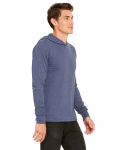 Heather Navy Unisex Jersey Long-Sleeve Hoodie as seen from the sleeveleft