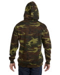 Green Woodland Camouflage Pullover Hooded Sweatshirt as seen from the back