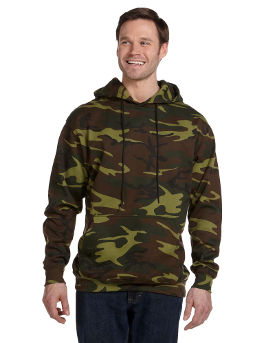 Green Woodland Camouflage Pullover Hooded Sweatshirt as seen from the front