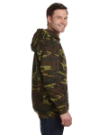 Green Woodland Camouflage Pullover Hooded Sweatshirt as seen from the sleeveleft