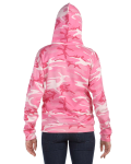 Pink Woodland Camouflage Pullover Hooded Sweatshirt as seen from the back