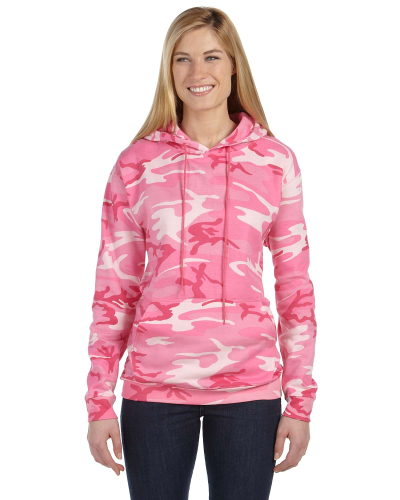 Pink Woodland Camouflage Pullover Hooded Sweatshirt as seen from the front