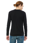 Black Unisex V-Neck Lightweight Sweater as seen from the back