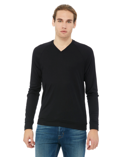 Black Unisex V-Neck Lightweight Sweater as seen from the front