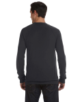 Dk Grey Heather Unisex V-Neck Lightweight Sweater as seen from the back