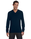 Midnight Unisex V-Neck Lightweight Sweater as seen from the front