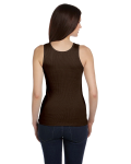 Chocolate Ladies' 2x1 Rib Tank as seen from the back