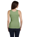 Moss Green Ladies' 2x1 Rib Tank as seen from the back
