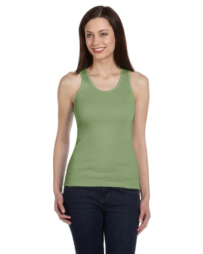 Moss Green Ladies' 2x1 Rib Tank as seen from the front
