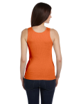 Orange Ladies' 2x1 Rib Tank as seen from the back