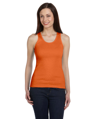 Orange Ladies' 2x1 Rib Tank as seen from the front