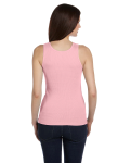 Pink Ladies' 2x1 Rib Tank as seen from the back