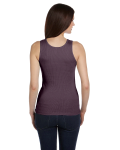 Plum Ladies' 2x1 Rib Tank as seen from the back
