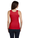 Red Ladies' 2x1 Rib Tank as seen from the back