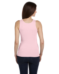 Soft Pink Ladies' 2x1 Rib Tank as seen from the back