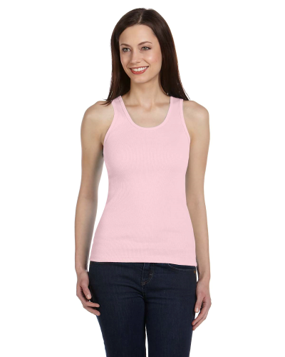 Soft Pink Ladies' 2x1 Rib Tank as seen from the front