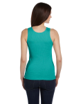 Teal Ladies' 2x1 Rib Tank as seen from the back