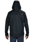 Black Men's PreCip Jacket as seen from the back