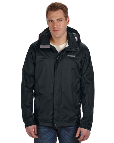 Black Men's PreCip Jacket as seen from the front