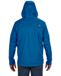Blue Sapphire Men's PreCip Jacket as seen from the back