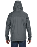 Slate Grey Men's PreCip Jacket as seen from the back