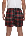 Black Stewart Flannel Short as seen from the back