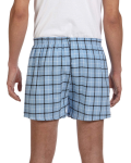 Light Blue Black Flannel Short as seen from the back