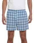 Light Blue Black Flannel Short as seen from the front
