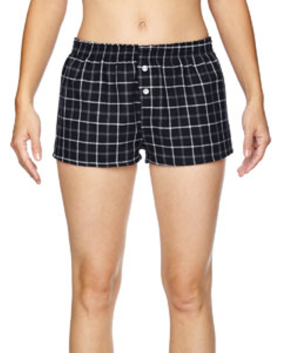 Black Grey Juniors' Flannel Short as seen from the front