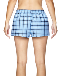 Light Blue Black Juniors' Flannel Short as seen from the back