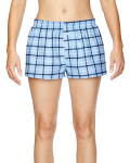 Light Blue Black Juniors' Flannel Short as seen from the front