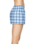Light Blue Black Juniors' Flannel Short as seen from the sleeveleft