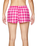 Pink Fuchsia Juniors' Flannel Short as seen from the back