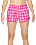 Pink Fuchsia Juniors' Flannel Short as seen from the front