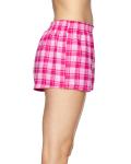 Pink Fuchsia Juniors' Flannel Short as seen from the sleeveleft