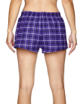 Purple Black Juniors' Flannel Short as seen from the back
