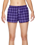 Purple Black Juniors' Flannel Short as seen from the front