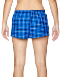 Royal Black Juniors' Flannel Short as seen from the back