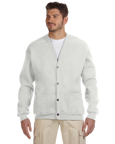 Ash 8 oz. NuBlend® 50/50 Cardigan as seen from the front
