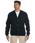Black 8 oz. NuBlend® 50/50 Cardigan as seen from the front