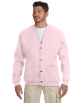 Classic Pink 8 oz. NuBlend® 50/50 Cardigan as seen from the front