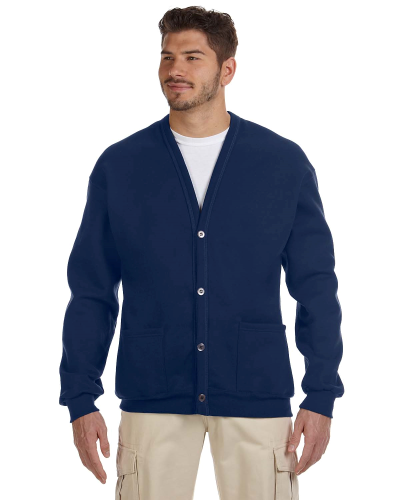 J Navy 8 oz. NuBlend® 50/50 Cardigan as seen from the front